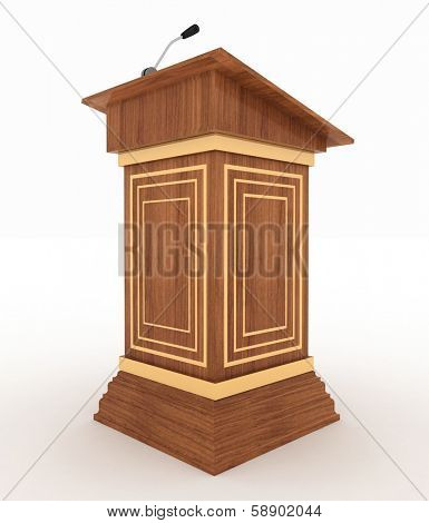 Podium and microphone. 3d illustration isolated on white background