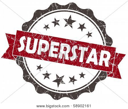 Superstar Red Grunge Vintage Seal Isolated On White