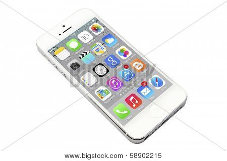 Ostersund, Sweden - December 12, 2012: iPhone 5 isolated on white background. Apple IPhone is one of the most popular smart phones in the world.