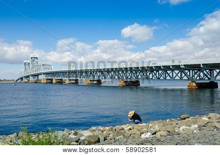 Rockaway, Queens, NYC, USA: Marine Parkway-Gil Hodges Memorial Bridge as seen from Rockaway