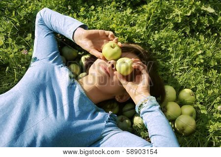 Woman And Apples