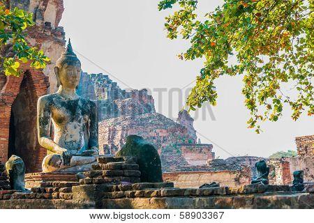 Ancient Buddha Of Temple Wat Chaiwatthanaram