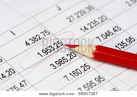 Financial Figures And Red Pencil