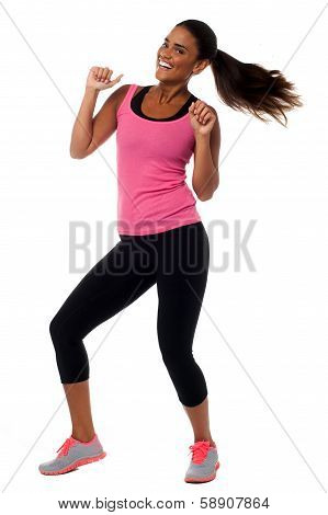 Excited Young Female Fitness Trainer