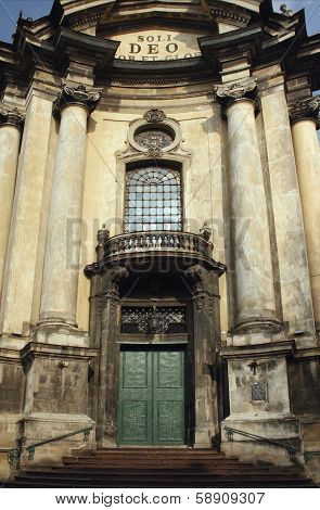 Facade Of The Dominican Church In The Old Part Of Lviv