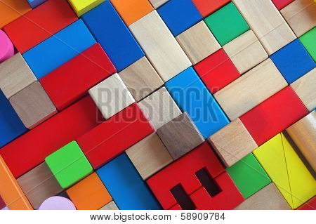 Wooden color blocks toy as a background
