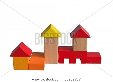 Wooden blocks construction. Isolated with path on white background.