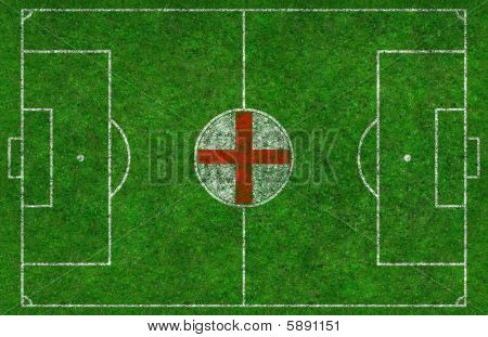 Football Pitch With English Flag