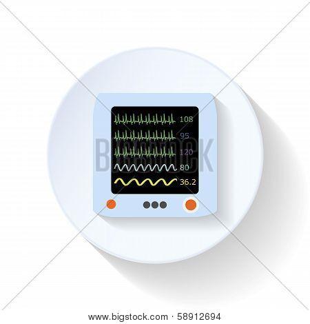 Resuscitation monitor flat icon