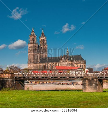 Magnificent Cathedral Of Magdeburg At River Elbe, Germany