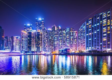 Busan, South Korea skyline at Haeundae District.