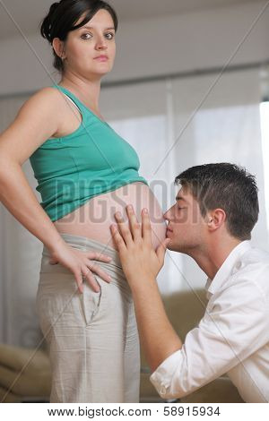 happy young cuple, pregnant woman
