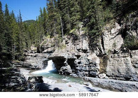 Waterfalls At  Johnston Canyon Banff
