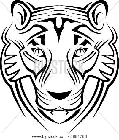 Tiger sign isolated on white