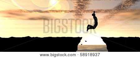 Concept or conceptual young man or businessman silhouette jump happy from cliff over water gap sunset or sunrise sky background as metaphor to freedom,nature, mountain, success,free,joy,health or risk