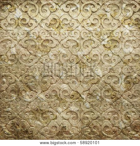 Gold metal pattern on paper backgrond
