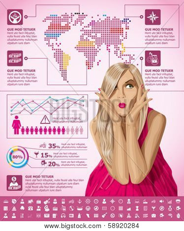Vector infographics with fashion woman, earth map and web icons, and elements usefull for any visualisations