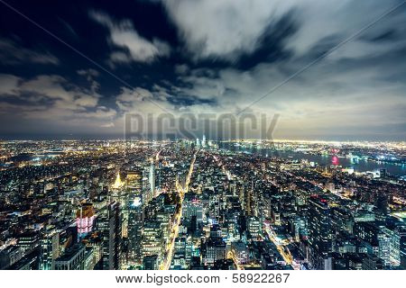 New York City at night.. Aerial view.