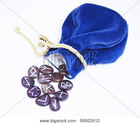 Shamanic rune stone blue bag and gold thread
