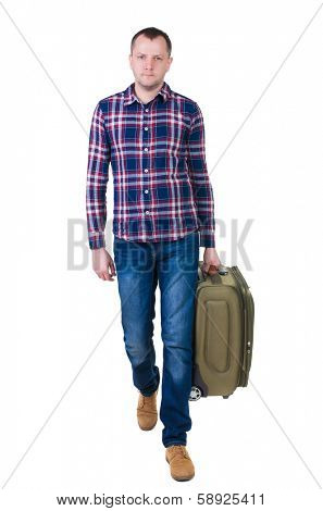 front view walking man with suitcase. brunette guy in motion. backside view person.  Rear view people collection. Isolated over white background. young man goes to side of rolling travel bag on wheels