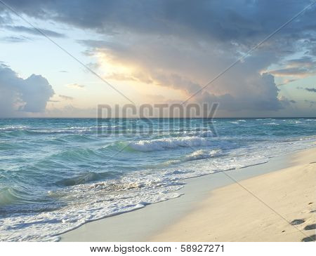Morning Storm Clouds Over Beach On Caribbean Sea