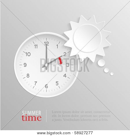 Sun shaped speech bubble and vector clock with hands at 2 o'clock and an red arrow symbolizing the hour forward to 3 o'clock for the change of time in spring for daylight savings on silver background.
