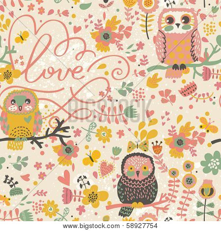 Gentle spring seamless pattern in bright colors. Cute owls on branches in butterflies and flowers in vector. Seamless pattern can be used for wallpapers, web page backgrounds,surface textures