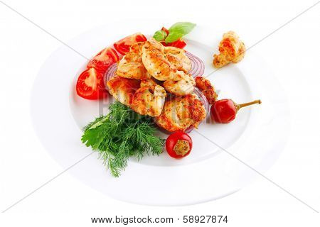 image of fried chicken brisket and tomatoes
