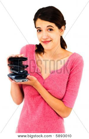 Woman Holding Stack Of Mobiles
