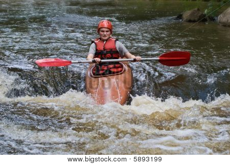 Teenage Girl White Water Kayaking