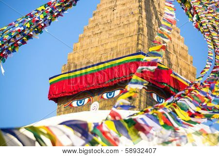 Bodhnath Stupa in Kathmandu with Buddha Eyes. Close up.
