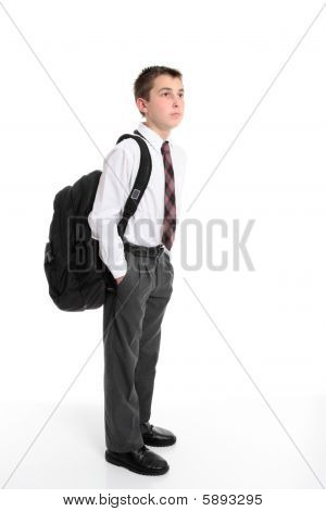 High School Student Carrying Backpack Bag