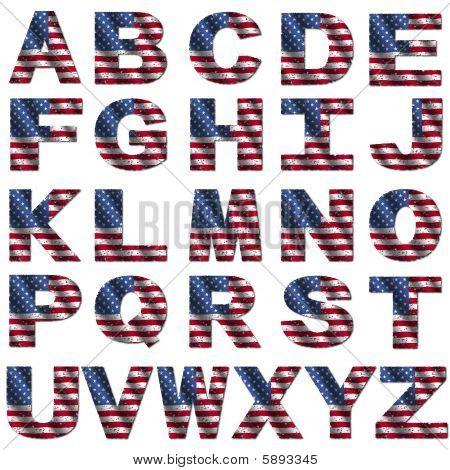 Grunge American Flag Font