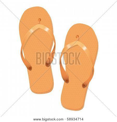 Orange Flip Flops Summer Vacation Vector Illustration