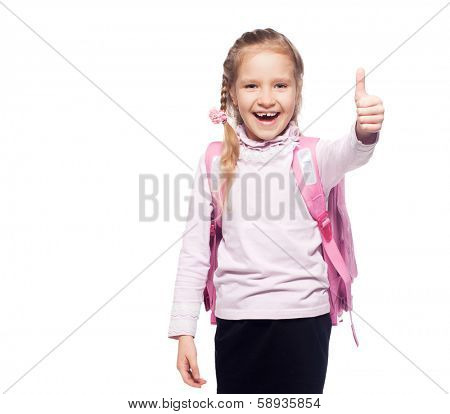 Child with schoolbag. Girl with school bag isolated on white