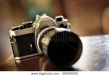 Old camera and lens for photography art