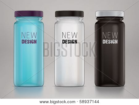 Empty glass jar with cap for new design. Sketch style
