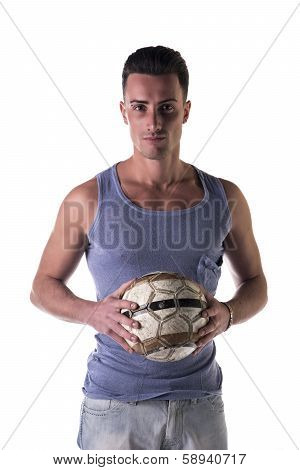 Handsome Young Man In Tanktop Holding Soccer Ball