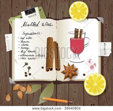 Mulled wine recipe in a cook book