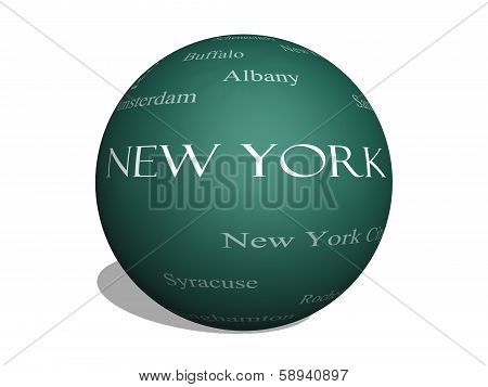 New York State Word Cloud Concept On A 3D Sphere Blackboard
