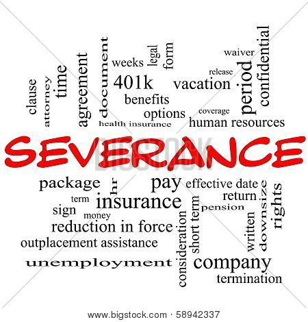 Severance Word Cloud Concept In Red Caps