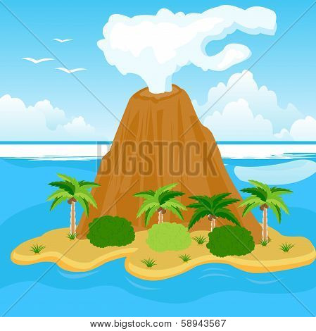 Vulcan on island