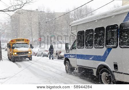 Street Traffic During Snow Storm In New York