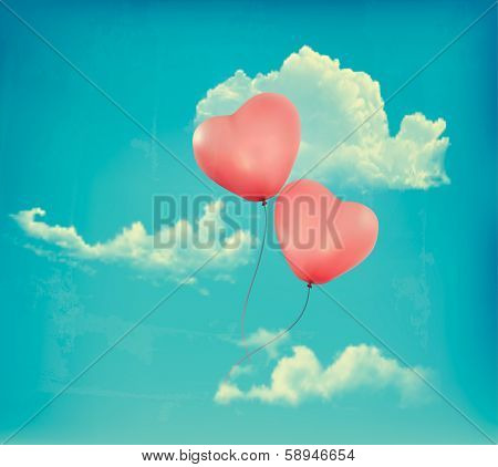 Valentine heart-shaped baloons in a blue sky with clouds. Vector retro background