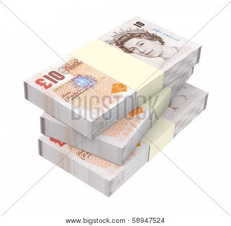 English money isolated on white background.  Computer generated 3D photo rendering