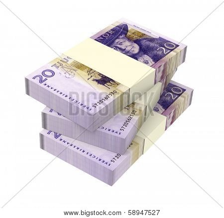 Swedish money isolated on white background.  Computer generated 3D photo rendering