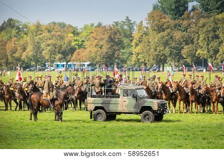 KRAKOW, POLAND - SEP 22: Unidentified participants feast of the Polish cavalry in historical city center, Sep 22, 2013 in Krakow, Poland. Festival is held in honor of the battle 12 Sep 1683 year.