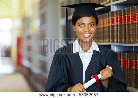 pretty african university law school graduate on graduation day
