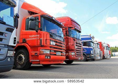 Row Of Used Scania Trucks