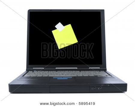 Laptop With Sticky Note